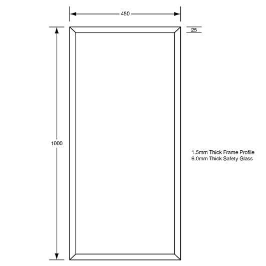 ML771-5 450 X 1000 Framed Mirror With 6mm Vinyl Backed Safety Glass