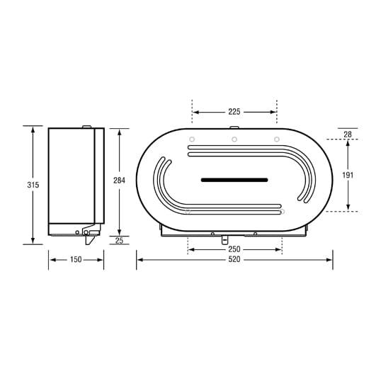 Double Round Jumbo Roll Toilet Tissue Dispenser Lockabel