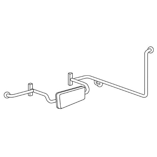 Mlr120br Lh Disabled Toilet Grab Rail With Integrated