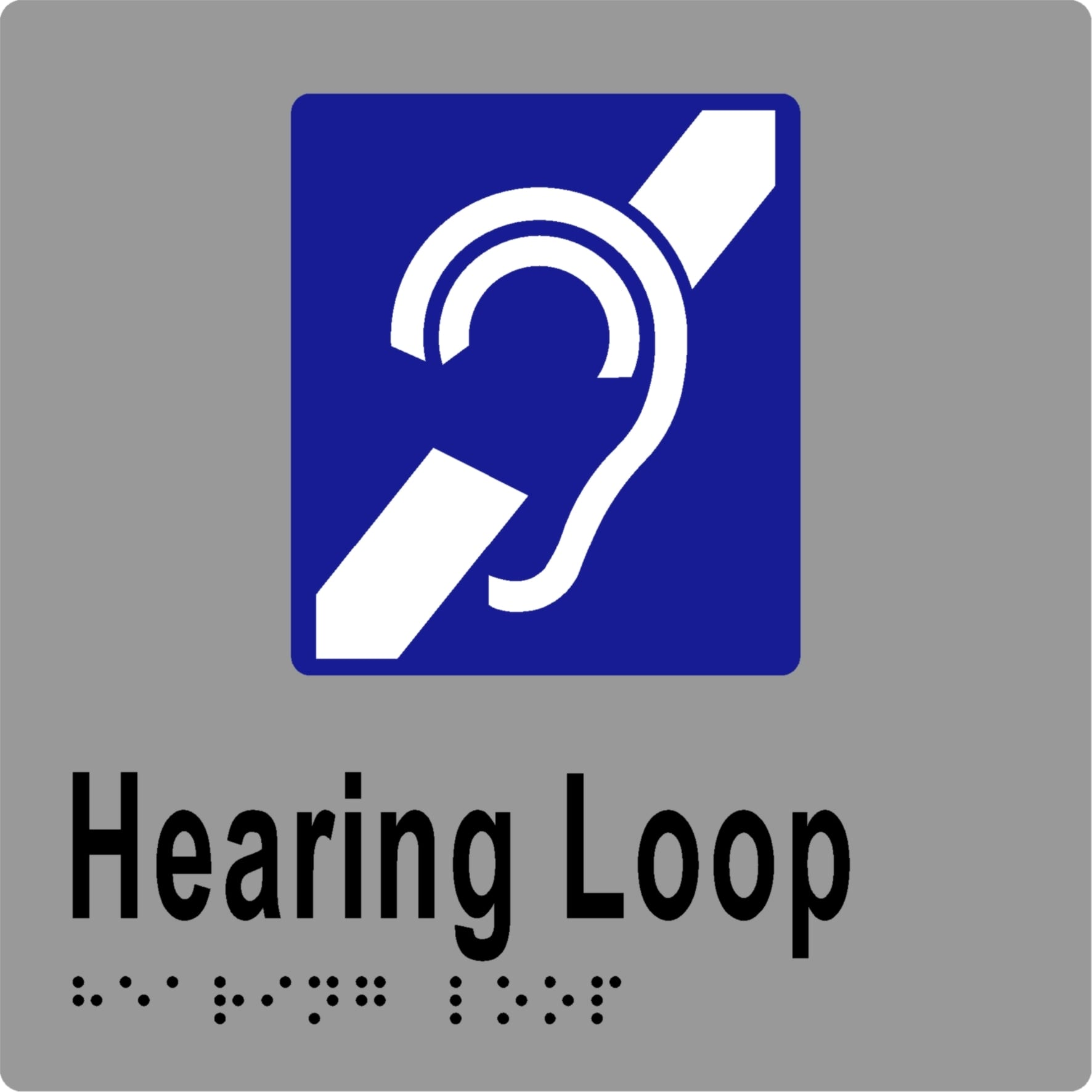 Hearing Loop Braille Silver With Black Welcome To Kirkbuild